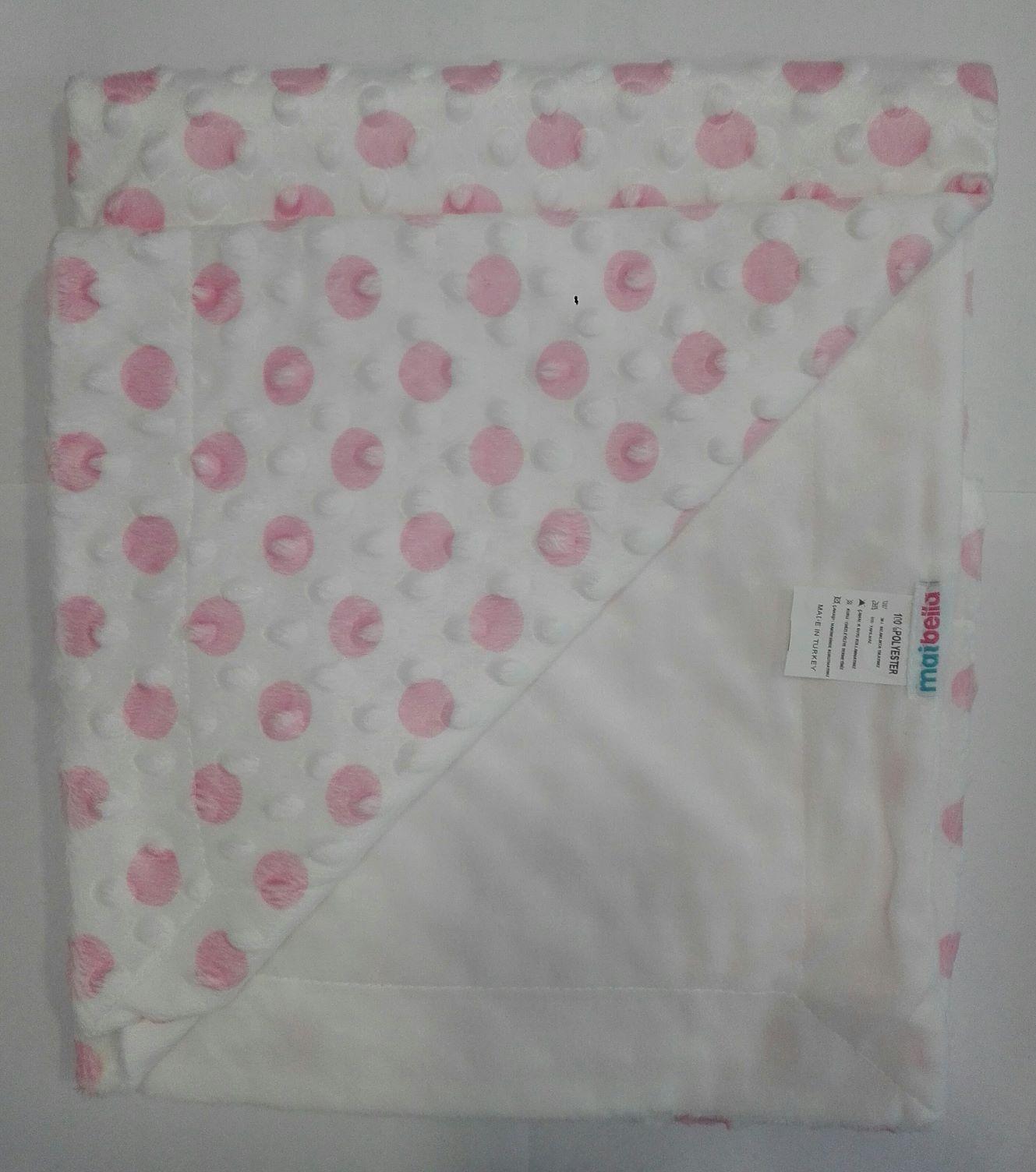 (UA) Плед білий в рожевий горошок